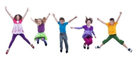 leaping: Happy joyful kids jumping high with real life facial expressions - isolated Stock Photo