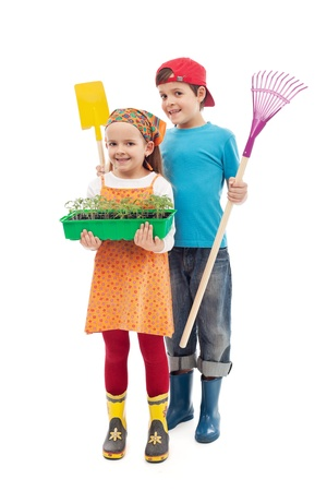 Kids ready to plant tomato seedlings in the spring - isolated photo