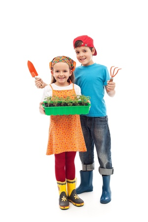 veggie tray: Kids prepared to plant the seedlings - growing food, isolated