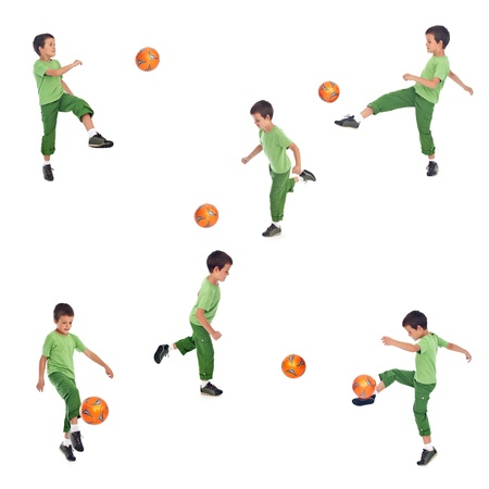Boy playing soccer - various angle shots, isolated collage photo