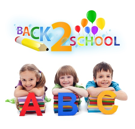 school book: Back to school - happy kids with books and letters, isolated