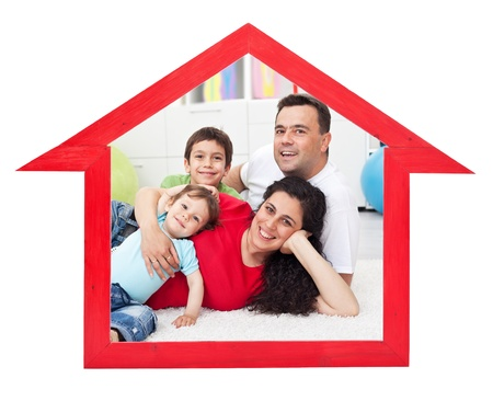 mortgages: Dream home concept with family inside house contour sign - isolated Stock Photo