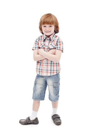 Little boy posing for the camera - isolated Stock Photo