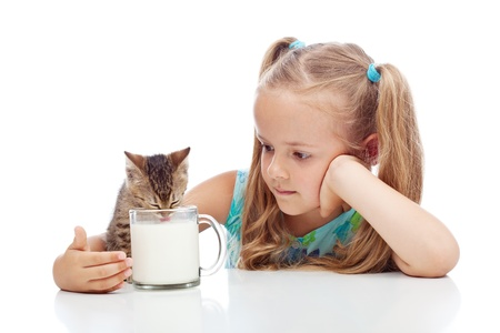 Little girl sharing milk with her kitten - animal care concept, isolated with reflections photo