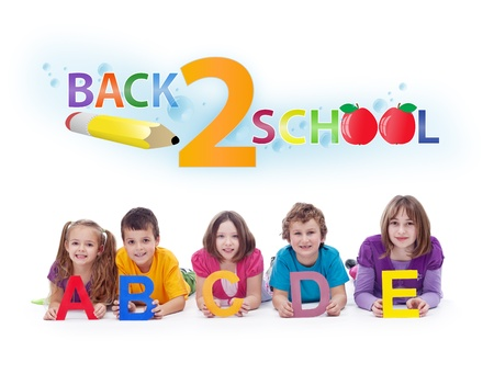 Kids with alphabet letters  - back to school and learning concept Stock Photo