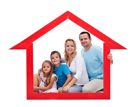 protect home: Family and home concept with young adults and two kids in house shaped frame - isolated