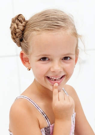 tooth extraction: My first encounter with the tooth fairy - young girl showing missing teeth Stock Photo