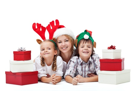 rudolf: Happy christmas people family with presents laying on the floor - isolated