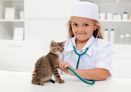 Little girl playing veterinary with her kitten - animal care concept Stock Photo - 17184753