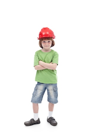 role models: Proud boy with his father hard hat - role models in childhood