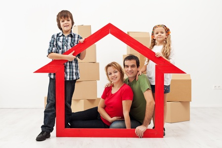 Family with two kids in their new home concept Stock Photo - 17481155