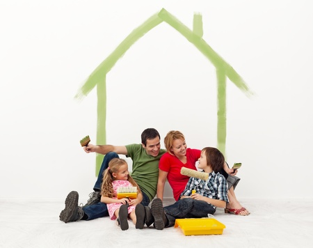 Family repainting their homewith the kids - concept Stock Photo - 17850666