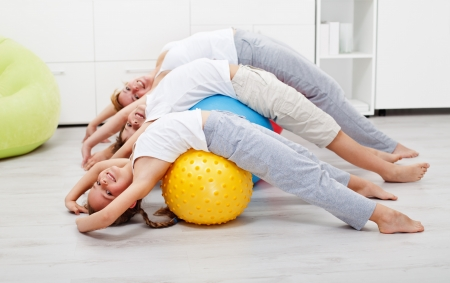 Happy healthy people exercising at home on large gymnastic balls photo