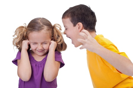 boy shouting to girl Stock Photo
