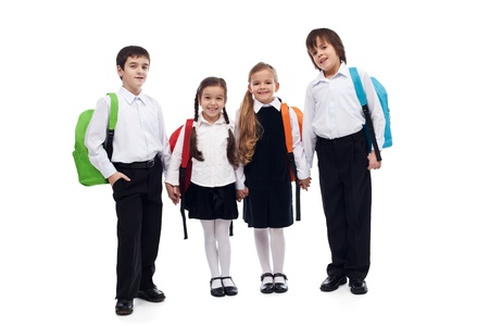 school friends: Group of children with colorful backpacks holding hands - back to school concept Stock Photo