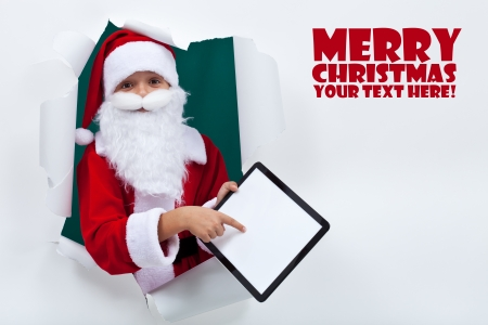 Keeping in touch with santa was never so easy - technology concept, copy space photo
