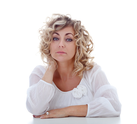 Tired blonde woman portrait - isolated photo