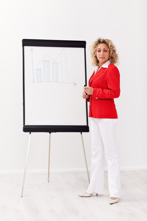 Business woman with flipchart presentation - looking confidently photo