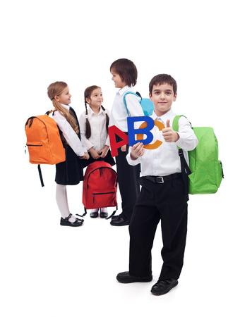 Back to school concept with a group of kids - isolated photo
