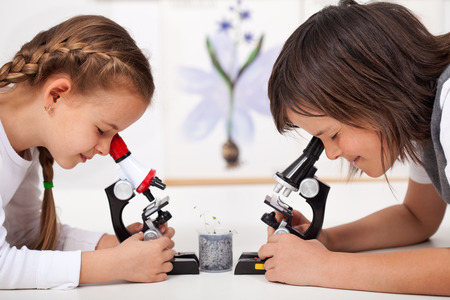 Young kids in science lab study samples under the microscope - biology class