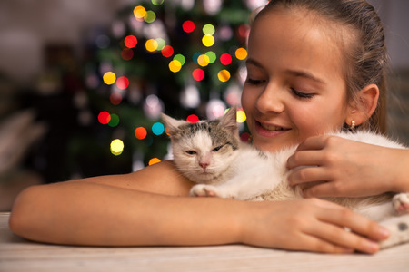 Young girl with her rescued kitten in front of the xmas tree at christmas time - admiring the fluffy hair of her gift Zdjęcie Seryjne