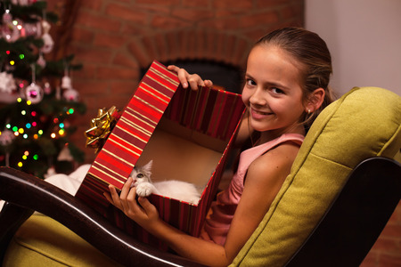 Young girl sitting in armchair showing her christmas present in a large box - a cute kitten
