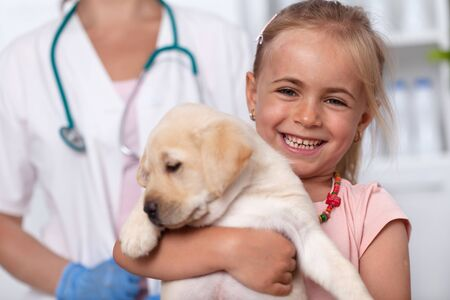 Happy little girl with her labrador puppy dog at the veterinary doctor office - close up