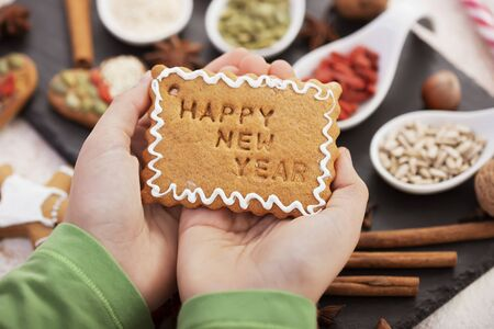Holidays sweets concept - hands holding biscuit with icing and happy new year text - close up