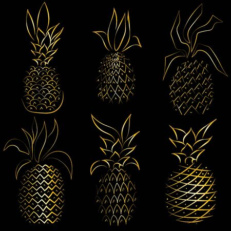 Golden pineapples isolated black in abstract style on black background. Summer background. Isolated vector icon. Vector illustration background. Fashion print. Abstract gold background.