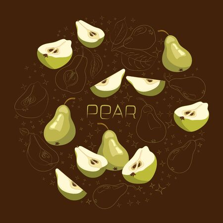 Bright vector set of colorful half, slice and whole of juicy pear. Template for summer banner design, print, poster, invitation, postcard.