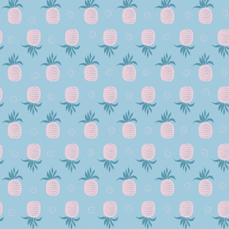 Vector seamless pattern with pink pineapples on a blue background. Can be used for textile, greeting business card background, phone case print