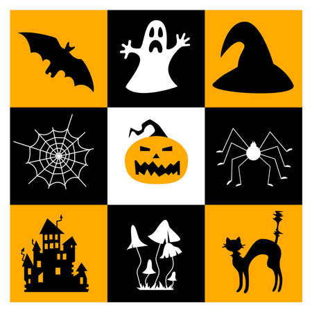 Halloween symbols collection. Set of 9 Halloween elements.