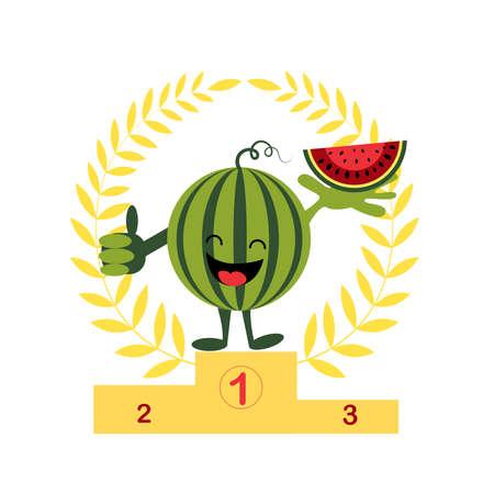 Happy watermelon winner. Watermelon day. Always first place. Stock Illustratie