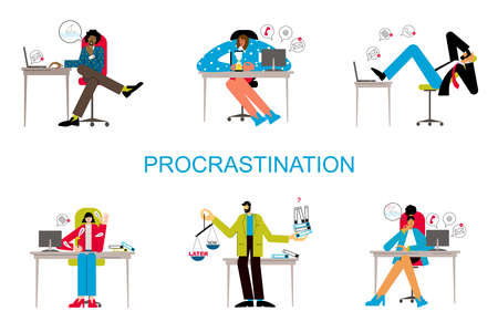 Procrastination and delaying working tasks concept. Irresponsible office employes procrastinating. Lazy people in office