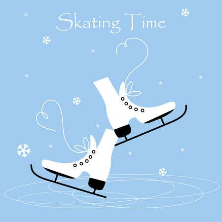 Winter holidays card with ice skates. Women s ice skates.