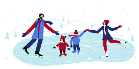 Family members are skating together one the ice in winter. dad and mum teach their children to skate and help them not to fall.
