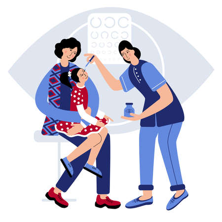Girl is sitting on Mother's lap and Mum is Hugging her, to clam dauther. Doctor dip Medicine into Girl's Eye to Check Up her Eyesight. Optical Eyes Test. 向量圖像