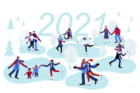 Set with people Skating on the Ice. Senior Couples, Families with Children, Young People and Lovers are Celebrateting 2021 New Year on the Ice. Illusztráció