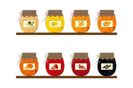 Homemade handmade jam from Mandarins, Kumquats, Lemons, Oranges, Blackcurrant, Red currant, White Currant, Strawberry. Set of Jars of Fresh Berries Jam and Sunny Juicy Fruits Jam. Flat style Vector Illustration isolated on white Background. Vektoros illusztráció