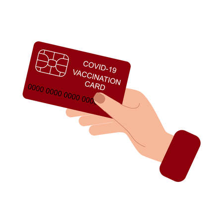 Vaccination card during Covid-19 to travel without problem. Flat style Vector Illustration isolated on white Background.