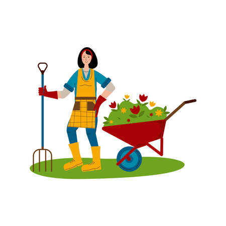A young girl with a pitchfork stands next to a wheelbarrow with seedlings of flowers. A hobby is gardening. Flat style Vector Illustration isolated on white Background.