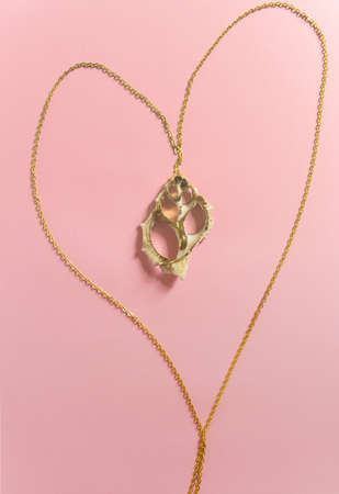 Gold pendant necklace with sea shell isolated on pink background. Handmade accessories. Top view. Selective focus.