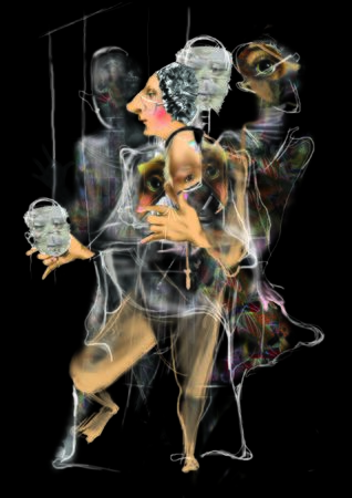 changing faces and personalities, psychology, split personality, marionettes, images, perception of reality, inner world, raster illustration over a black background Archivio Fotografico - 133218771