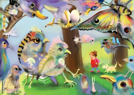 Little girl walking a dog in a magic forest filled with huge colorful birds