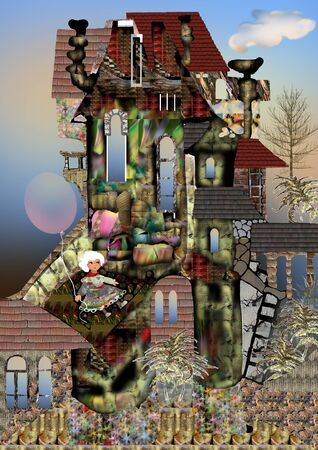 old house with nature around, a girl puppet holding an air balloon