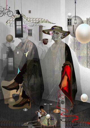 portrait of a woman sitting, in a hat, surrealist portrait, collage, over a gray background Banque d'images