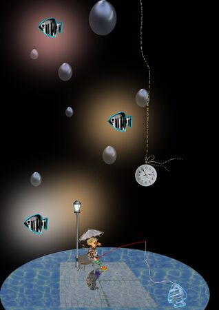 man fishing in the pond, it's night and it rains, fish thoughts are floating in the air, a watch is hanging down from the sky, black background