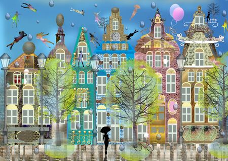 Cute belgian city, summer, colorful digital illustration, one dark woman silhouette with umbrella, it has rained, blue sky and many women silhouettes on the roofs of the homes Imagens