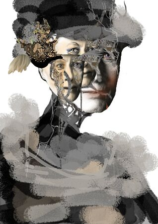 woman face made of several parts, split personality, schizophrenia