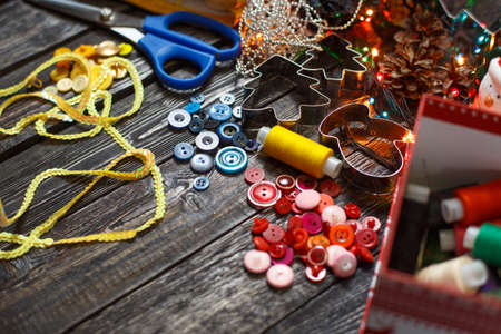 items for sewing on the table, the background! Stock Photo
